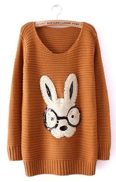 Sewing Idea - Funny Rabbit! - www.SheInside.com - Shown: Khaki Long Sleeve Rabbit Embellished Pullovers Sweater $33.39 (Cheap! ! !)