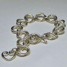 Sterling Silver Bracelet chain Link Mobious Flower