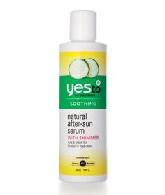 Yes to Cucumbers Natural After-Sun Serum: Cools and nourishes sun-damaged skin with cucumber and green-tea extracts. A hint of shimmer makes you look less fried.