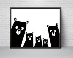 Bear Family Nursery Print Bear Art Poster Black and White Modern Kids Room Decor Large Print Minimalist Poster Woodland Baby Shower Art D'ours, Art Mural, Nursery Prints, Nursery Wall Art, Bar Kunst, Baby Wallpaper, Motifs Animal, Bear Nursery, Deco Originale