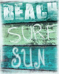 Vintage Beach Sign Art Print  - Beach Surf Sun Aqua Green Blue Beach House Decor Wall Art Girl Room Photograph. $25.00, via Etsy.