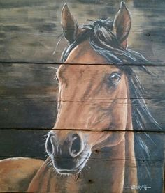 Horse painting, acrylic on barn wood by Leslie Triesch Horse Canvas Painting, Pallet Painting, Wood Painting Art, Pallet Art, Wood Art, Canvas Art, Cool Paintings, Animal Paintings, Art Pictures
