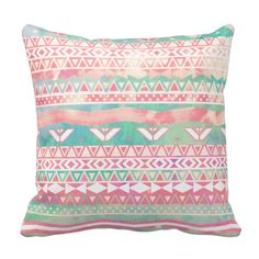 An abstract teal and pink watercolor Aztec stripes pattern throw pillow. Perfect to bring out the girly girl in you.