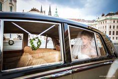 Bride's Cars : Picture Description Amazing bride in the wedding car on Prague Castle Wedding Photography Pricing, Wedding Photography Poses, Wedding Car, New Wedding Dresses, Prague Photography, Wedding Photo Gallery, Prague Castle, Wedding Photoshoot, Wedding Trends