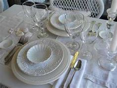 All white place setting...