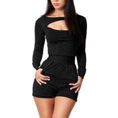 a36f4c20450b new Women Long Sleeve Clubwear Bodycon Bodysuit Jumpsuits Shorts combinaison