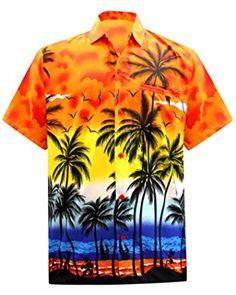 Orange Funky Chemise Hawaienne Sarong Beach V.H.O
