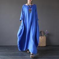 Women summer vintage cotton linen loose dress