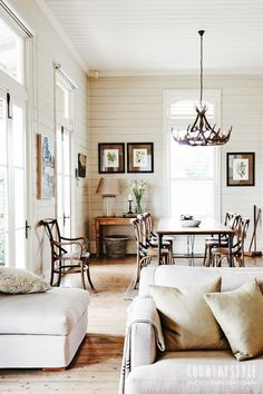 Farmhouse Living Room Decor Ideas - Farmhouse design has specific features, however it's not one dimension fits all. Check out these varied examples of farmhouse style living spaces. Living Room Decor, Living Spaces, Dining Room, Dining Chairs, Bentwood Chairs, Dining Area, Dining Table, Sweet Home, Ship Lap Walls