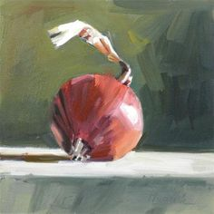 """Daily Paintworks - """"Red Onion on Green"""" - Original Fine Art for Sale - © Gretchen Hancock"""