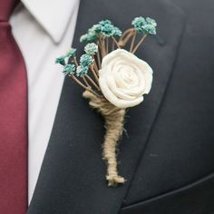 Rustic Succulent Boutonniere // photo by: Caroline Joy // Boutonniere: Rosehip Flora // http://www.theknot.com/weddings/album/a-casual-southern-wedding-in-austin-tx-137223