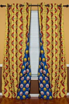 Get 2 African print curtains with the price of Your house don't have to be so conventional. Our awesome African Print double sided window curtains transform a neglected essential into an awesome statement piece. Featuring a double-sided print. African Interior, African Home Decor, Cute Dorm Rooms, Cool Rooms, Curtains Yellow And Blue, Blue Yellow, Blue Curtains, Ethnic Decor, Printed Curtains