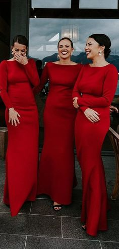 Bridesmaid dresses with sleeves - Red Jersey Long Sleeve Sheath Cheap Long Prom Dresses CR 4374 – Bridesmaid dresses with sleeves Pink Bridesmaid Dresses Short, Prom Dresses, Christmas Bridesmaid Dresses, Black Bridesmaids, Wedding Dresses, Dress Prom, Cheap Dresses, Affordable Dresses, Casamento