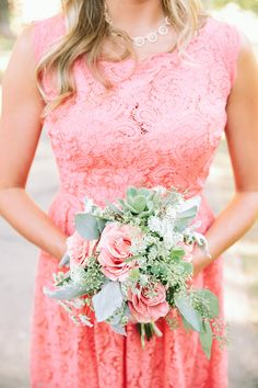 Coral for bridesmaids.