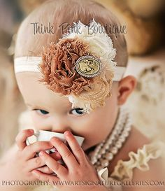 Baby girl headband,Shabby chic flowers headband, vintage inspired headband,newborn, baby headband.Infant headband,toddler Headband,