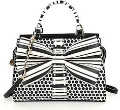 Betsey Johnson Curtsy Striped & Dotted Bow Satchel