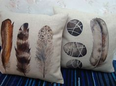 2 Feather Pillow Covers Boho Chic Scandinavian Native American Indian Aztec