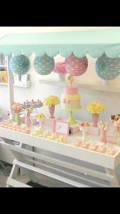 Lolly buffet pastels .cake pom poms
