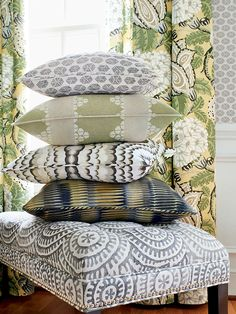 Kasai fabrics love the beautiful colors of these pillows from thibaut. Fabric Combinations, Soft Furnishings, Cottage Curtains, Bright Decor, Family Room, Living Dining Room, Chair Fabric, Thibaut, Pillows