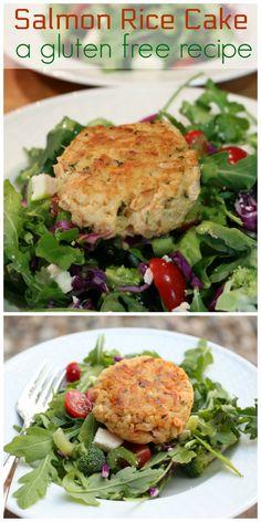 Salmon Rice Cake over Arugula Salad
