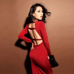 Sexy V Neck Open Back Long Sleeve Maxi Dress Club Dress For Women