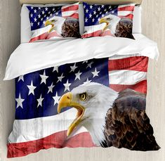 Ambesonne American Flag Decor Duvet Cover Set, Eagle on Foreground Banner Pride History Solidarity Martial Identity Symbol, 3 Piece Bedding Set with Pillow Shams, Queen/Full, Multi -- Visit the image link more details. (This is an affiliate link) Comforter Cover, Bed Duvet Covers, Duvet Cover Sets, Pillow Shams, Pillow Cases, American Flag Decor, American Flag Eagle, Luxury Duvet Covers, Quilt Sets