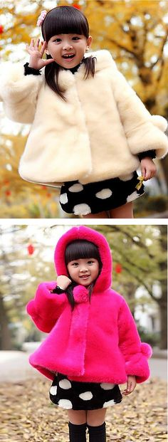 Just look at this adorable snow princess? Find this hoodie faux fur baby coat in ivory and pink colors at $24.99.