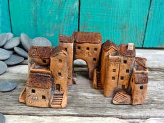Miniature ceramic houses. Group of 3 - inspired to the Italian Medieval villages | by Cherry*Heart