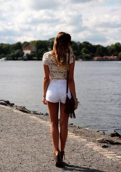 White Shorts, High Waist-ed, Lace, Top, Cute, Summer, Style, Fringe Bag, Booties