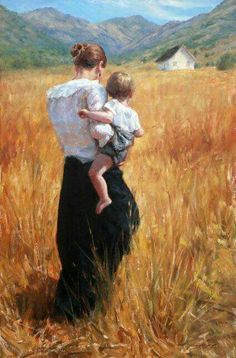 """I affirm my profound belief that God's greatest creation is womanhood.  I also believe that there's no greater good in all the world than motherhood.  The influence of a mother in the lives of her children is beyond calculation.""  -James E. Faust (Finding Light in a Dark World)  Art- Trent Gudmundsen. ""The Summer Cottage"" #gatheringfamilies #familylightstheworld"