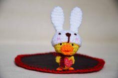 Amigurumi Dododuck Coaster with White Bunny Hat by EEchingHandmade, $13.50