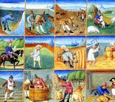 1460-1475 Les travaux de l'année 5d, Livre des prouffitz champestres et ruraulx de Pietro de Crescenzi, Chantilly