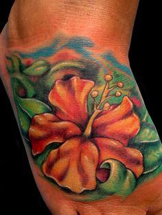 Orange Hawaiian Flower Tattoos tobiastattoo.com #hibiscus #flower #tattoo