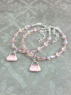 Hand bag bracelet set for mother and daughter. Color Harmony, Bracelet Set, Unique Vintage, Pink Color, Pink Roses, Vintage Inspired, Mothers, My Design, Jewelry Making