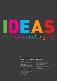 Identity and promotional items designed for the annual University of Brighton Innovation Awards.