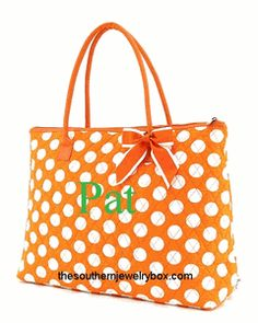 PERSONALIZED QUILTED BAGS, TOTES AND LUGGAGE SETS - Orange and White - CLICK TO SEE SELECTION