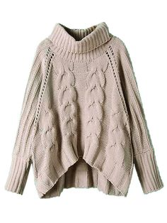 Choies Gray High Neck Chunky Cable Long Sleeve Sweater American Women Girl New #choies #Fashion