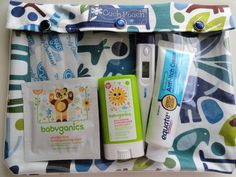"♥ Extra Large 7x9 Pouch for meds, first aid, school supplies, etc...    Blue Zoo Animals Fabric with clear vinyl front pocket and snap closure    ♥ Eco Friendly... no more ziplock bags. Holds everything you see in last photo plus more.     ♥ Your choice of label -   ""Meds""  ""Ouch Pouch""   No Label   Personalized - Just message me the name you'd like on the label, up to 10 letters.    ♥ Buy 3 pouches get 1 4x5 Ouch Pouch FREE! See store front for details.    ♥ Many Other Fabrics Available…"
