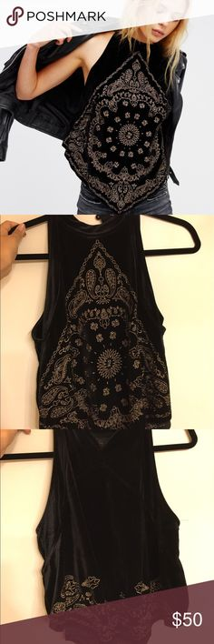 Free People Bandana Bling Tank Only worn once! It's a nice velvet material with gold embellished threading. Free People Tops Tank Tops