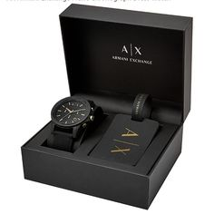 A distinctive matte black dial with goldtone accents connects with a smooth silicone strap for this adventureready Outerbanks chronograph watch from AX Armani Exchange. An iconic luggage tag joins this watch in a boxed set. Gift Box For Men, Gifts For Him, Mens Gift Sets, Top Gifts For Men, Men Gifts, Presents For Men, Luxury Gifts For Men, Wine Gift Baskets, Basket Gift