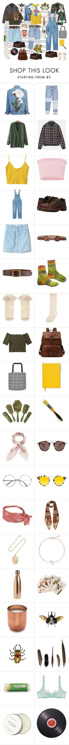 """summer outfits"" by sydneybrunette on Polyvore featuring MANGO, Dr. Martens, Gap, Frame, Monsoon, Hollister Co., Smythson, Manipuri, Oliver Peoples and Krewe"