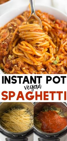 "Instant Pot Spaghetti with vegan lentil ""meat"". Easy dinner ready in 20 minutes! #vegan #plantbased #pasta"