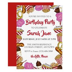 Carnival State Fair Foods Birthday Party Invitation Birthday Party Invitations, Party Favors, State Fair Food, Fair Foods, Circus Carnival Party, Youre Invited, White Envelopes, Invitation Design, Event Planning
