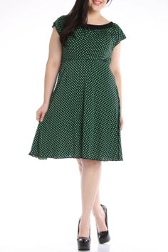 SHE Print Short Dress in Black And Green Dot