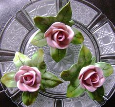 Lovely Small Vintage Dresden Porcelain Roses