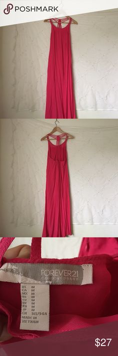 Pink backless maxi dress In mint condition, perfect for summer or spring. No trades. Make a reasonable offer. Forever 21 Dresses Maxi
