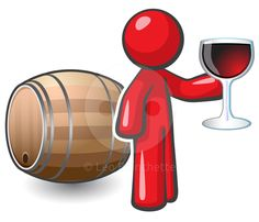 Design Mascot holding a glass of fine red wine, and a keg behind him, suggesting he may be in a…