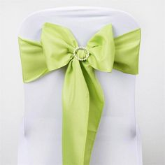 """5 PCS SAGE GREEN Polyester Chair Sashes Tie Bows Catering Wedding Party Decorations - 6x108"""""""