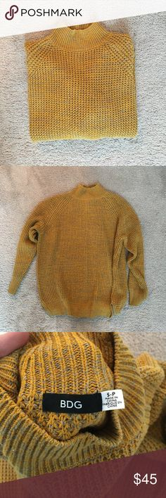 Urban Outfitters Waffle-Knit Turtleneck Sweater Mustard color has sold out. I'm selling because I never wear this. Perfect condition, and fits true to size! Very comfortable and not itchy! Urban Outfitters Sweaters