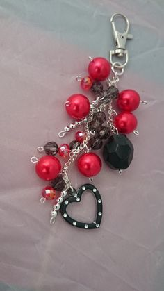 Bag charm, purse charm, heart bag charm, red bag charm . beaded bag charm,red and black bead bag charm. - pinned by pin4etsy.com